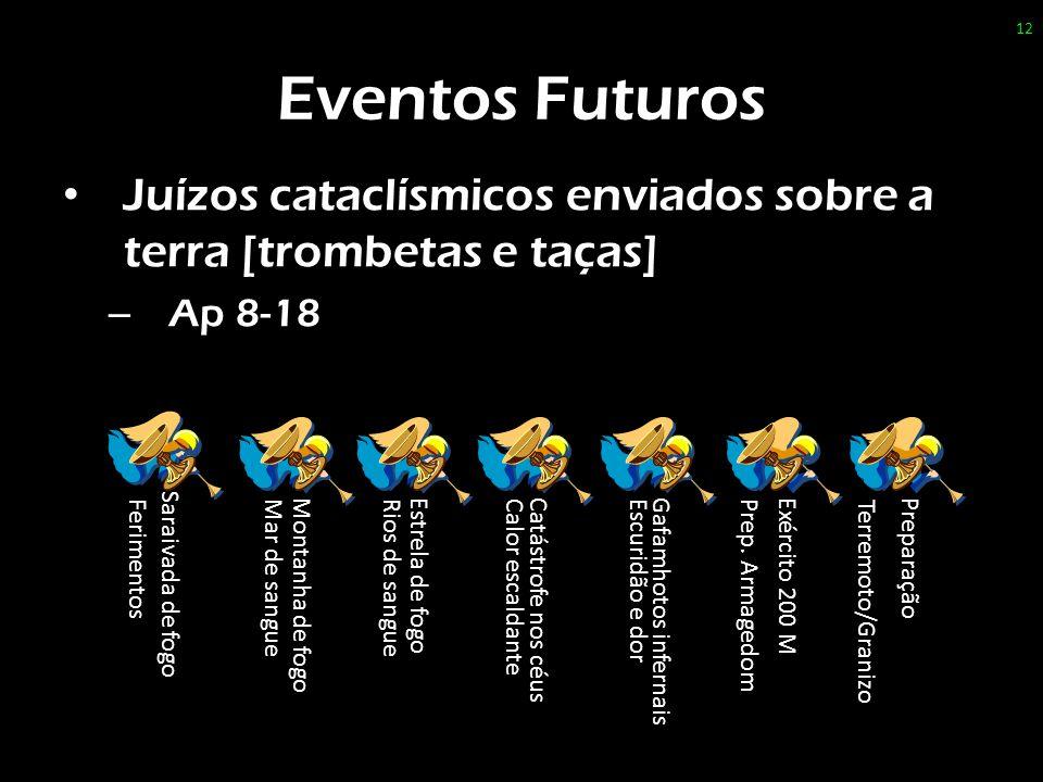 Eventos Futuros Juízos cataclísmicos enviados sobre a terra [trombetas e taças] Ap 8-18. Saraivada de fogo.